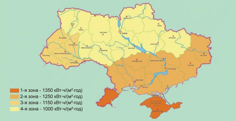 карта солнечного излучения на Украине