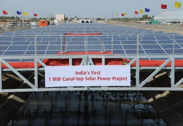 Солнечная электростанция над оросительными каналами